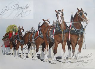 Jennifer Donald Cheers draft horses Peddlers Market Colonial Beach Virginia fine art artist Virginia horse painting