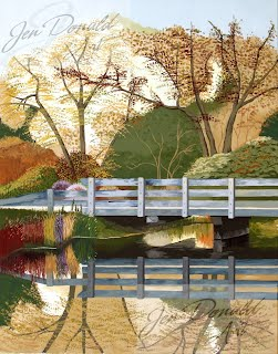 Jennifer Donald Fall Drive scenic bridge Peddlers Market Colonial Beach Virginia fine art artist Virginia painting