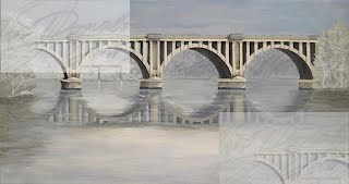Jennifer Donald Fredericksburg Chatham Bridge, train bridge, river painting, landscape, Colonial Beach, Virginia, reflections, colonial beach restaurants, colonial beach real estate
