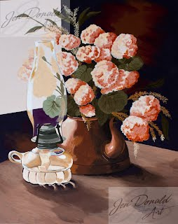 Jennifer Donald Sunlit II still life flowers copper pot hurricane lamp Peddlers Market Colonial Beach Virginia fine art artist Virginia painting