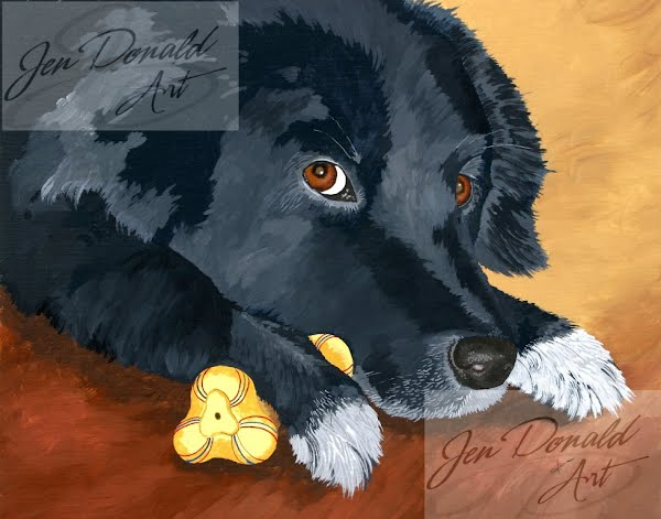 Jennifer Donald I'm Watching You border collie dog painting