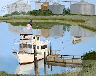 Jennifer Donald Captain Thomas river boat Colonial Beach Virginia fine art artist