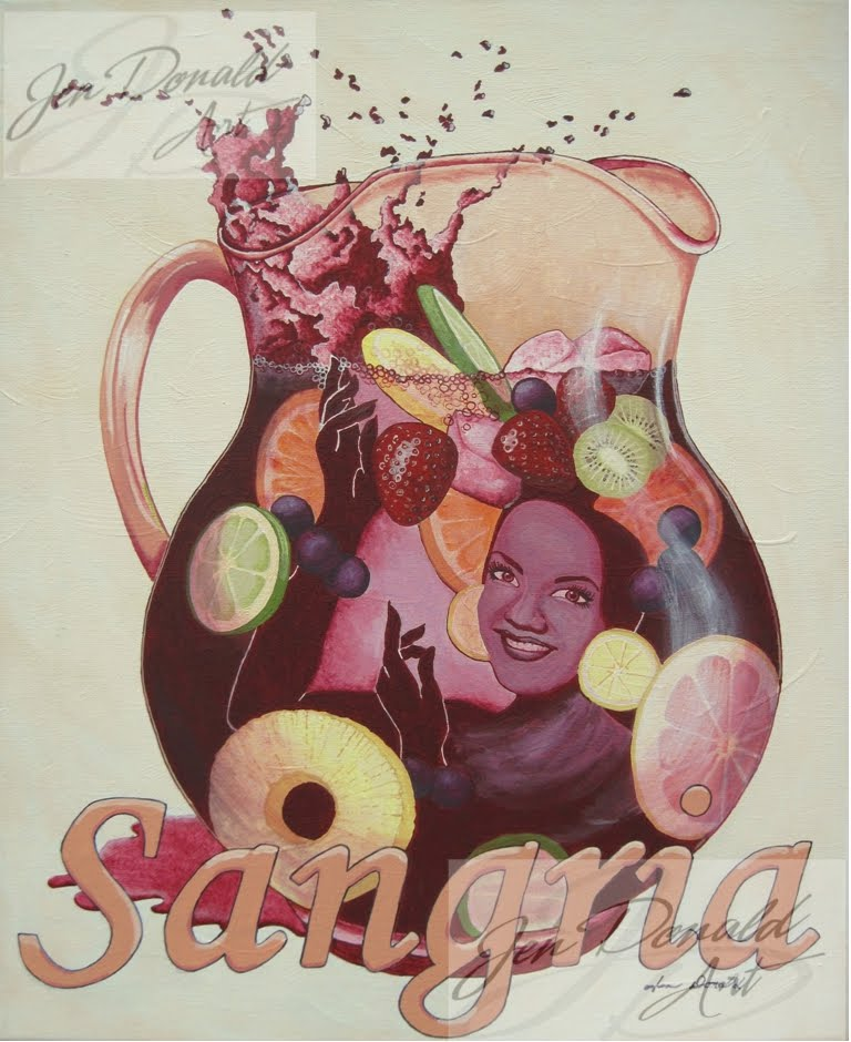 Colonial Beach Virginia wine artist sangria Carmen Miranda wine art pitcher fruit