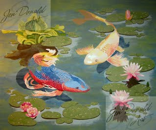 Jennifer Donald Koi II fish goldfish pond water Virginia painting Colonial Beach Virginia fine art artist