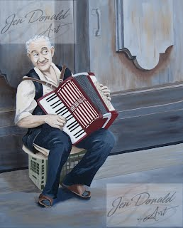 Jennifer Donald I Wanna Polka Virginia Fine Art street musician old man musical instruments paintings Colonial Beach Virginia fine art artist
