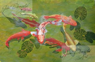 Jennifer Donald Koi I fish goldfish pond Colonial Beach Virginia fine art artist Virginia painting