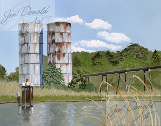 Jennifer Donald Totuskey Silos Colonial Beach Virginia artist water painting