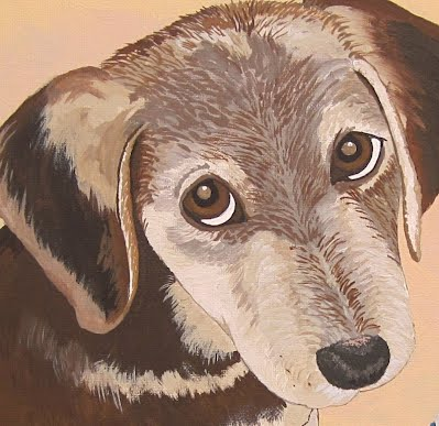 Lacey Close Up puppy face dog painting