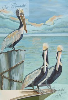 Jennifer Donald Pelicans Three seascape Colonial Beach Virginia fine art artist Virginia painting
