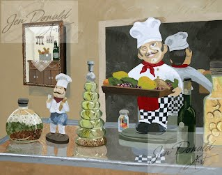 Jennifer Donald When The Moon Hits Your Eye Italian restaurant still life Virginia painting Peddlers Market Colonial Beach Virginia fine art artist