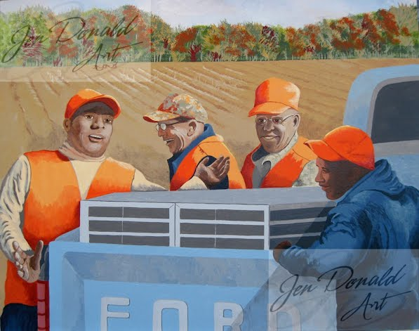 Jennifer Donald The Hunt Club Virginia Fine Art hunters ford truck hunting painting