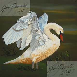 Jennifer Donald Morning Stretch swan bird Colonial Beach Virginia fine art artist