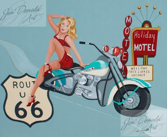 Jennifer Donald Get Your Kicks motorcycle Route 66 painting