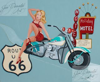 Jennifer Donald Get Your Kicks motorcycle Route 66 painting Colonial Beach Virginia fine art artist