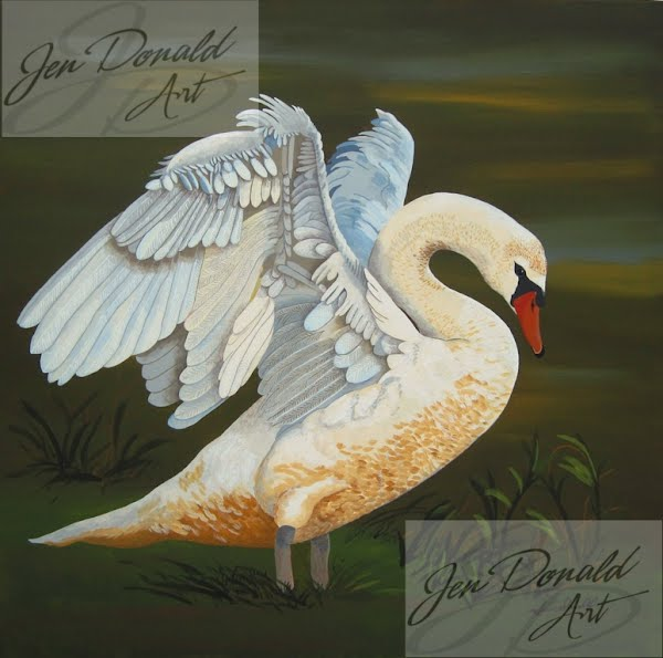 Jennifer Donald Morning Stretch Swan acrylic painting