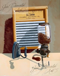 Jennifer Donald Help Wanted nostalgic washboard coffee grinder Peddlers Market Colonial Beach Virginia fine art artist Virginia