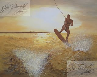 Jennifer Donald One Last Jump wake board painting Colonial Beach Virginia fine art artist