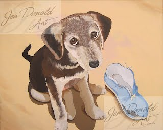 Jennifer Donald Its What I Do Lacey german shepherd puppy slipper Colonial Beach Virginia fine art artist